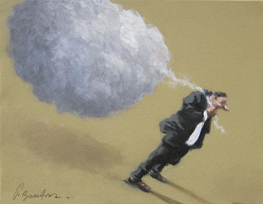 Thomas Bossard, artiste peintre, L'homme au nuage n°4 , huile sur toile, 27 x 35 cm