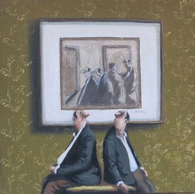 Thomas Bossard, artiste peintre, Les jumeaux, huile sur toile, 50 x 50 cm