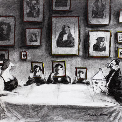 Thomas Bossard, Artiste peintre, Repas de famille, 20 x 20 cm, fusain, pierre noire et pastel