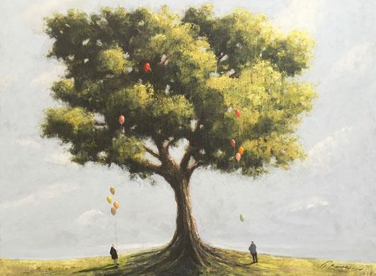 Thomas Bossard, artiste peintre, L'arbre, huile sur toile, 130 x 97 cm