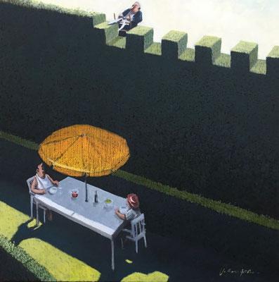 Thomas Bossard, artiste peintre, Mon cher voisin, huile sur toile, 80 x 80 cm