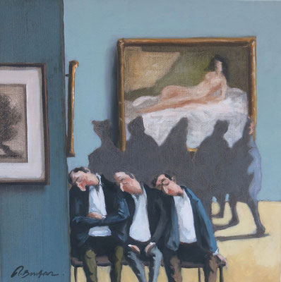 Thomas Bossard, artiste peintre, Grosse fatigue n°1, huile sur toile, 50 x 50 cm