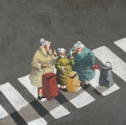 Thomas Bossard, artiste peintre, Les commères, huile sur toile, 50 x 50 cm