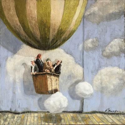 Thomas Bossard, artiste peintre, La montgolfière, huile sur toile, 80 x 80 cm