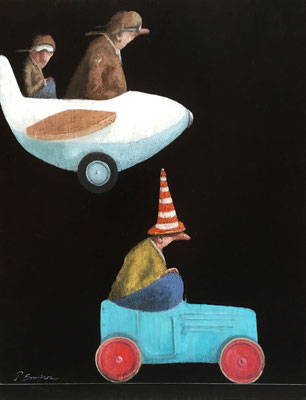 Thomas Bossard, artiste peintre, Le fou du volant, huile sur toile