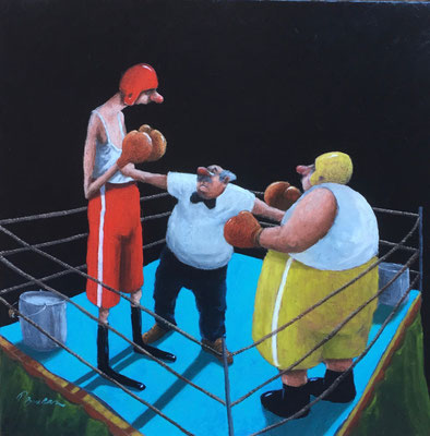 Thomas Bossard, artiste peintre, Les boxers, huile sur toile, 120 x 120 cm