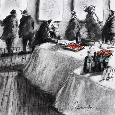 Thomas Bossard, Artiste peintre, Le pique-assiette, 20 x 20 cm, fusain, pierre noire et pastel