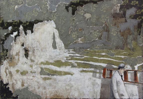 Thomas Bossard, artiste peintre, Etretat, huile sur toile, 100 x 80 cm