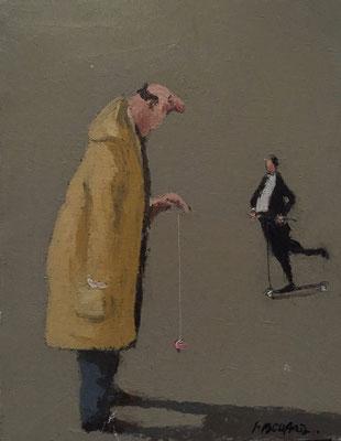 Thomas Bossard, artiste peintre, Le Yoyo, huile sur toile, 27 x 35 cm