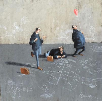 Thomas Bossard, artiste peintre, La marelle, huile sur toile, 80 x 80 cm