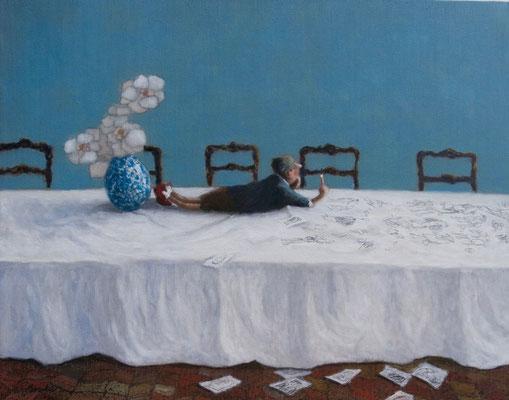 Thomas Bossard, artiste peintre, Le crayon en l'air, huile sur toile, 92 x 73 cm