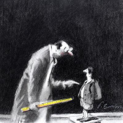 Thomas Bossard, Artiste peintre, L'écolier, 20 x 20 cm, fusain, pierre noire et pastel
