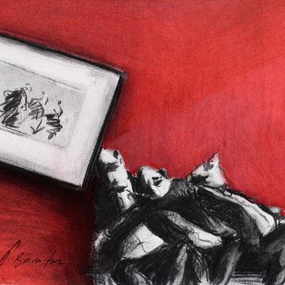 Thomas Bossard, Artiste peintre, Grosse fatigue, 20 x 20 cm, fusain, pierre noire et pastel