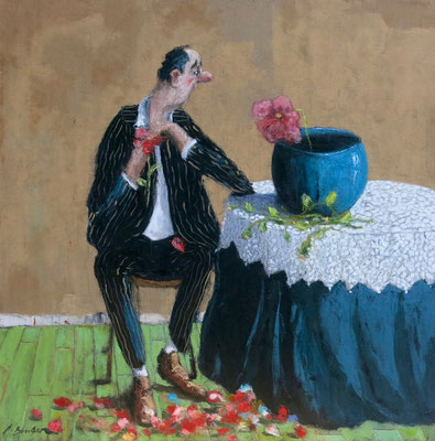 Thomas Bossard, artiste peintre, Je t'aime, un peu , beaucoup ... ,  huile sur toile, 100 x  100 cm