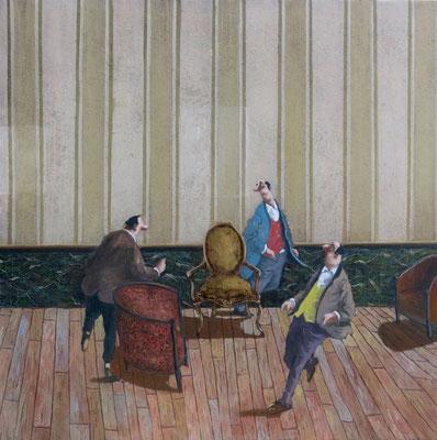 Thomas Bossard, artiste peintre, La chaise musicale, huile sur toile, 100 x 100 cm