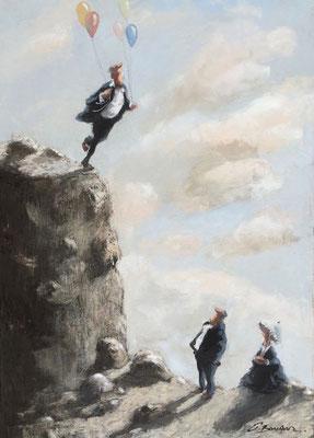Thomas Bossard, artiste peintre, Au sommet, huile sur toile