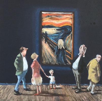 Thomas Bossard, artiste peintre, Munch, huile sur toile, 50 x 50 cm