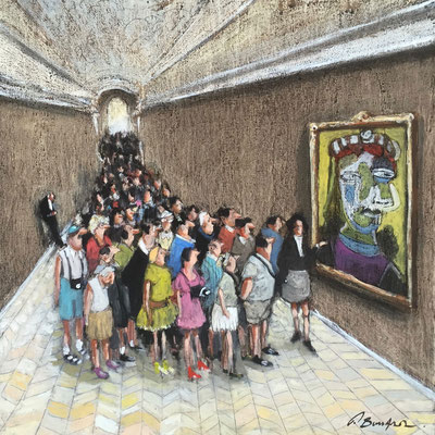 Thomas Bossard, artiste peintre, Picasso, huile sur toile, 50 x 50 cm