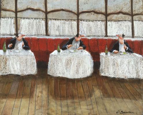 Thomas Bossard, artiste peintre, La guerre des petits pois, huile sur toile, 60 x 50 cm