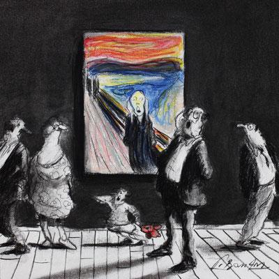 Thomas Bossard, Artiste peintre, Munch, 20 x 20 cm, fusain, pierre noire et pastel