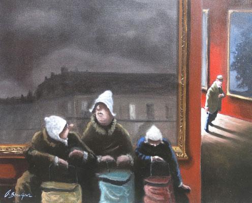 Thomas Bossard, artiste peintre,  Arrêt de bus, huile sur toile, 65 x 81 cm