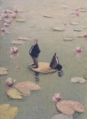Thomas Bossard, artiste peintre, Nymphéa, huile sur papier, 76 x 56 cm