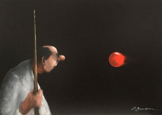 Thomas Bossard, artiste peintre, Boule de billard, huile sur toile, 70 x 50 cm
