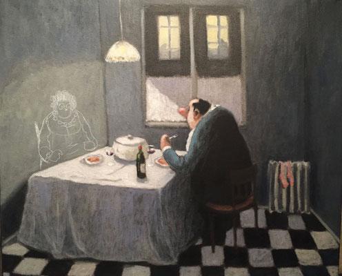 Thomas Bossard, artiste peintre, La solitude, huile sur toile, 65 x 54 cm