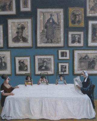 Thomas Bossard, artiste peintre, Repas de famille, huile sur toile, 92 x 73 cm