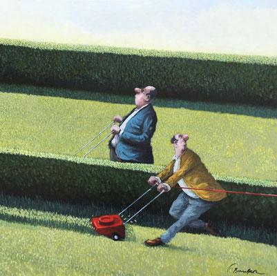 Thomas Bossard, artiste peintre, La course, huile sur toile, 80 x 80 cm