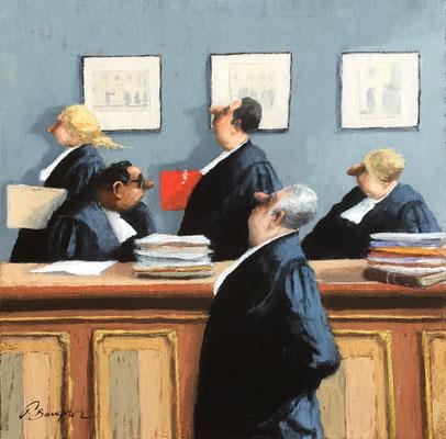 Thomas Bossard, artiste peintre, Les avocats, huile sur toile, 100 x 100 cm
