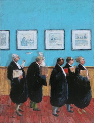 Thomas Bossard, artiste peintre, Les avocats, huile sur toile,  120 x 80cm