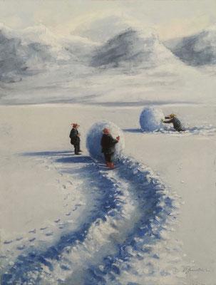 Thomas Bossard, artiste peintre, Boule de neige, huile sur toile, 92 x 73 cm