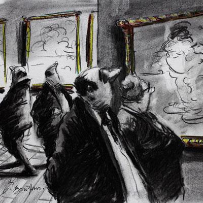Thomas Bossard, Artiste peintre, Au musée, 20 x 20 cm, fusain, pierre noire et pastel