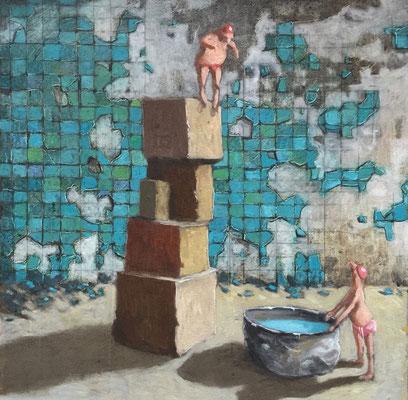 Thomas Bossard, artiste peintre, Le grand plongeon, huile sur toile, 50 x 50 cm