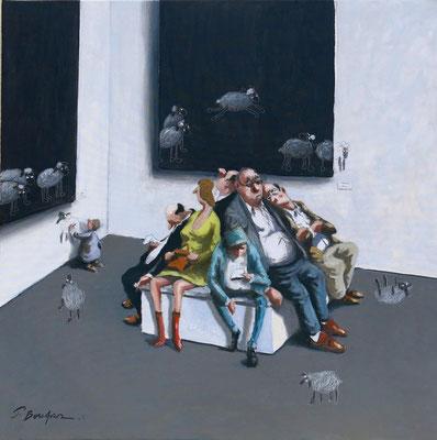 Thomas Bossard, artiste peintre, Saute moutons, huile sur toile, 80 x 80 cm