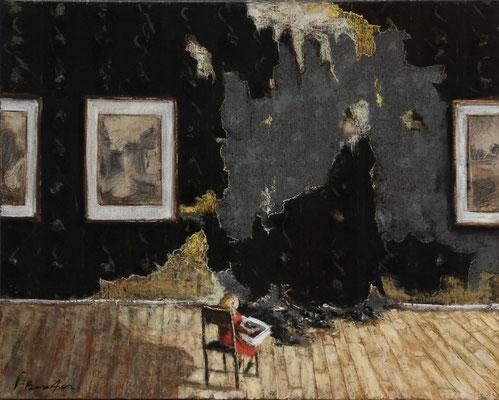 Thomas Bossard, artiste peintre, La grand-mère, huile sur toile, 61 x 50 cm