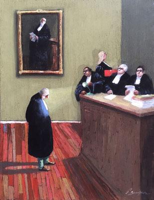 Thomas Bossard, artiste peintre, Les avocats, huile sur toile, 120 x 80 cm
