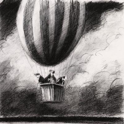 Thomas Bossard, Artiste peintre, La montgolfière, 20 x 20 cm, fusain, pierre noire et pastel