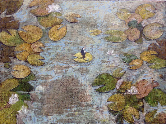 Thomas Bossard, artiste peintre, A la pêche, huile sur toile