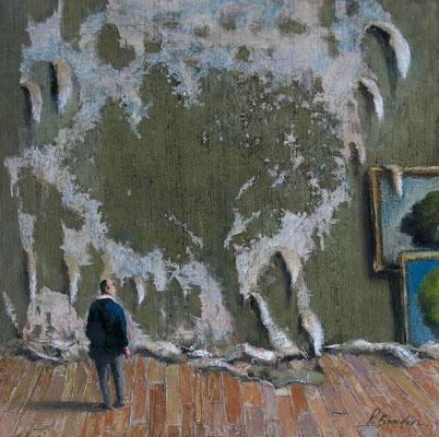 Thomas Bossard, artiste peintre, Le détapisseur, huile sur toile, 50 x 50 cm