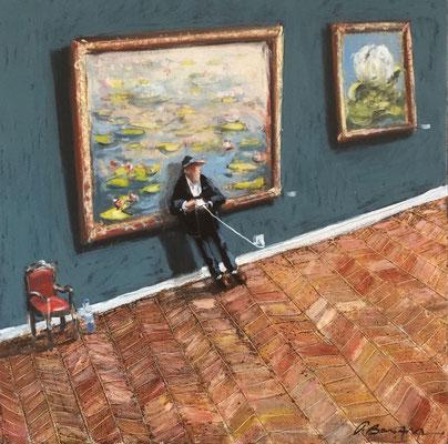Thomas Bossard, artiste peintre, En recharge, huile sur toile, 50 x 50 cm