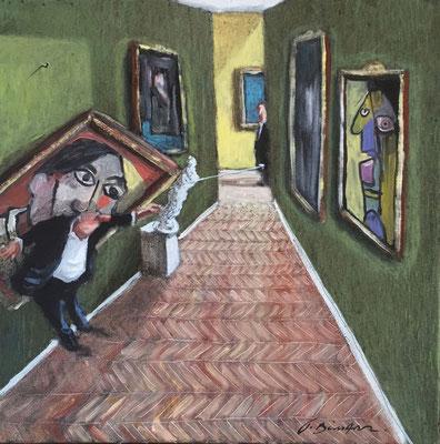 Thomas Bossard, artiste peintre, Musée Picasso, huile sur toile, 50 x 50 cm