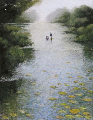 Thomas Bossard, artiste peintre, Au beau milieu, huile sur toile, 114 x 146 cm