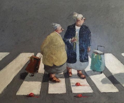 Thomas Bossard, artiste peintre, Les commères, huile sur toile