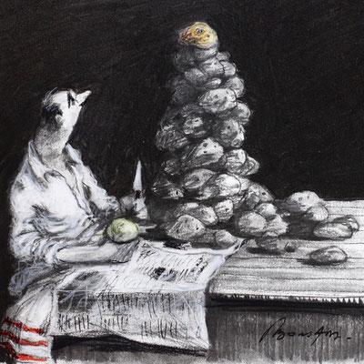 Thomas Bossard, Artiste peintre, Corvée de patates, 20 x 20 cm, fusain, pierre noire et pastel