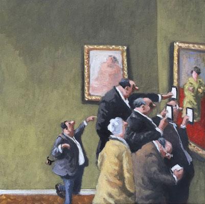 Thomas Bossard, artiste peintre, Au musée, huile sur toile, 50 x 50 cm