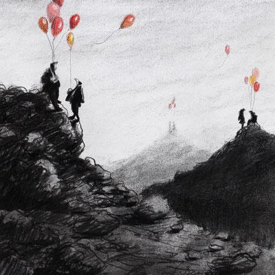 Thomas Bossard, Artiste peintre, Au sommer, 20 x 20 cm, fusain, pierre noire et pastel