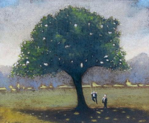 Thomas Bossard, artiste peintre, A mon tour, huile sur toile, 65 x 54 cm