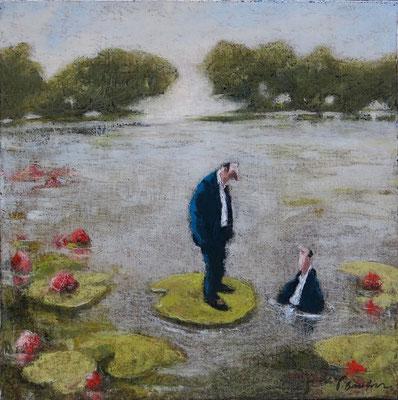 Thomas Bossard, artiste peintre, Nymphéa, huile sur toile, 50 x 50 cm